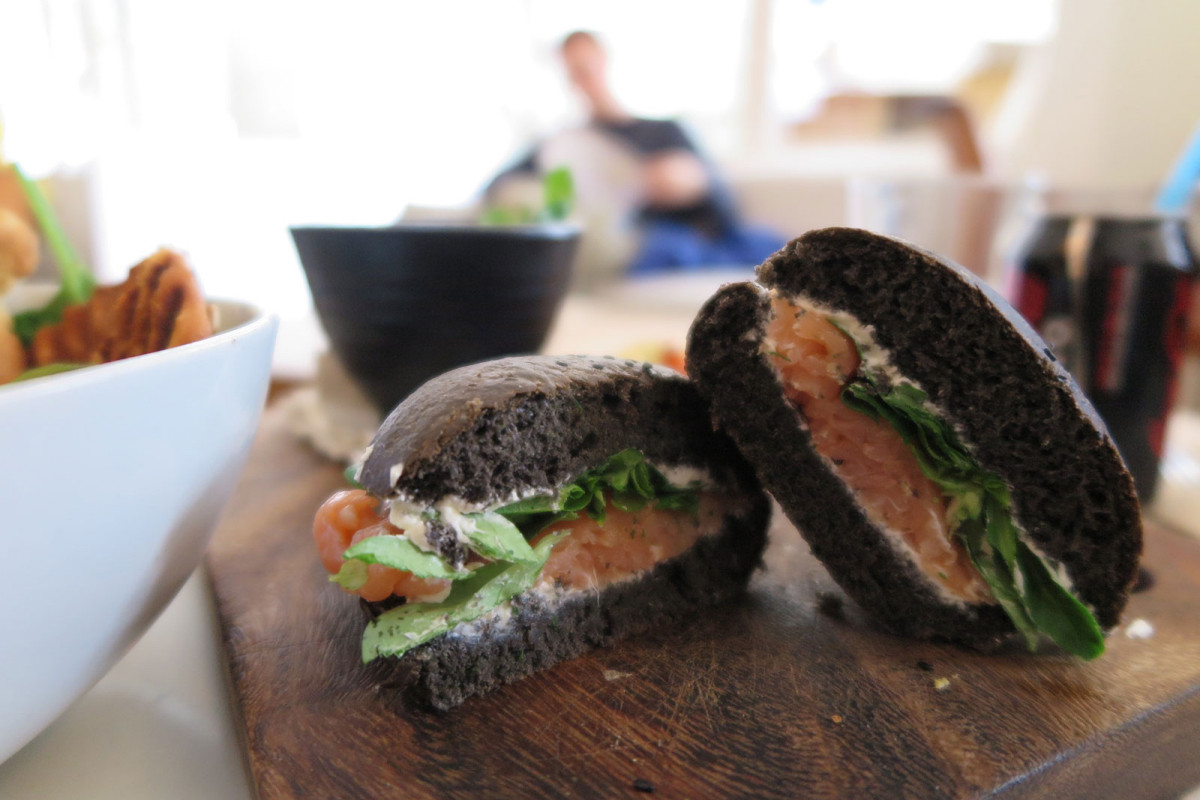 Salmon with capers sandwich